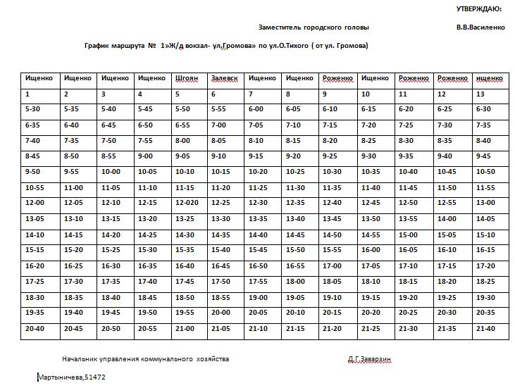 Графік руху автобусів в Костянтинівці на 2020 рік, фото-1