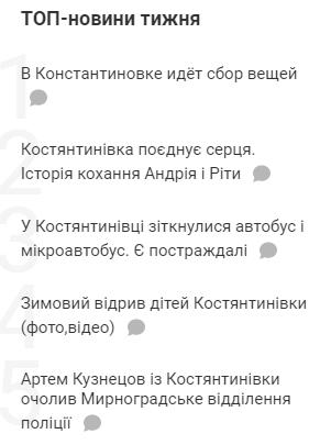 Топ-5 новин тижня на сайті Костянтинівки, фото-1